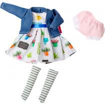 poppenkleding jurk The Biggers meisjes blauw/wit