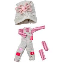 poppenkleding overall The Biggers meisjes grijs/roze