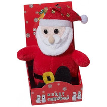 kerstman speelfiguur junior 13 x 8 cm pluche rood