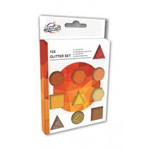 glitterset oranje/goud 12-delig