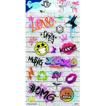 stickers Graffiti 20 x 10 cm papier 19 stuks