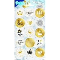 stickers Gold 20 x 10 cm goud 15 stuks