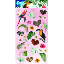 stickers Jungle 20 x 10 cm papier roze 34 stuks