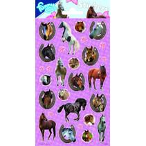 stickers Horses 20 x 10 cm papier paars 28 stuks