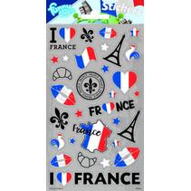 stickers Frankrijk 20 x 10 cm grijs 28 stuks