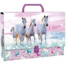 opbergkoffer meisjes 33 x 24 cm karton roze/blauw