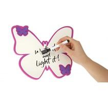 whiteboard vlinder wit/paars 20 cm