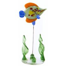 glazen vis op standaard 10 cm oranje/groen