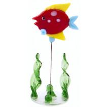 glazen vis op standaard 10 cm rood/geel/groen