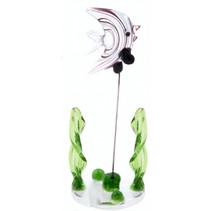 glazen vis op standaard 10 cm zwart/transparant/groen