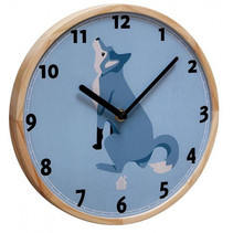 wandklok Wolf 25 x 3 cm hout blauw/blank