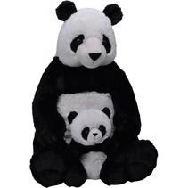 knuffel Pandabeer 58 cm junior pluche zwart/wit 2-delig