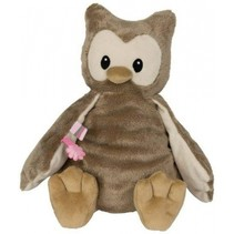 knuffel uil polyester 28 cm bruin/roze