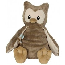 knuffel uil polyester 28 cm bruin/blauw