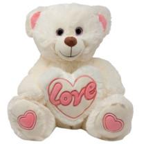 knuffelbeer Love junior 40 cm pluche wit/roze