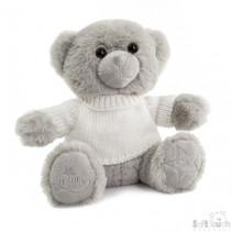 knuffelbeer met sweater junior 20 cm pluche grijs