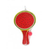 beachballset fruit 38 x 24 cm hout groen/rood 3-delig