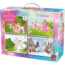 legpuzzel 4-in-1 Prinsessen en Paarden 24-50 stukjes