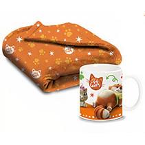 kinderset Mok & Deken fleece/porselein oranje 2-delig