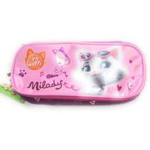 etui Katten meisjes 22 cm polyester roze