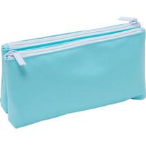 etui Soft Touch Pastel dubbelvlaks 23 x 12 cm blauw