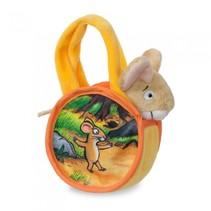 knuffelmuis in tas 18 cm geel/oranje