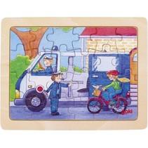 houten legpuzzel Politie 19 x 14,5 cm 24 stukjes