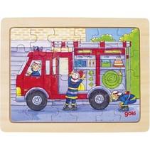 houten legpuzzel Brandweer 19 x 14,5 cm 24 stukjes