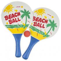 beachballset junior 34 cm hout blauw 3-delig