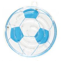 geduldspel doolhof voetbal junior 5,5 cm blauw/wit