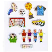 stickers glitter voetbal #1 junior 12-delig