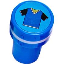 stempel voetbaltroffee junior 4 x 2,5 cm blauw