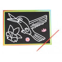 kraskaart vogel 9 x 13 cm papier zwart 2-delig