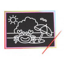 kraskaart strand junior 9 x 13 cm zwart 2-delig
