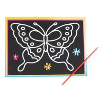 kraskaart vlinder jr. 9 x 13 cm zwart 2-delig