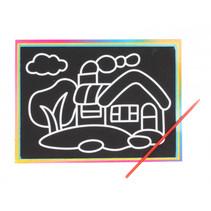 kraskaart huis 9 x 13 cm papier zwart 2-delig