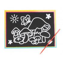 kraskaart paddestoel junior 9 x 13 cm zwart 2-delig