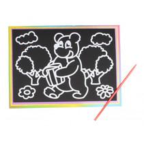 kraskaart beer 9 x 13 cm papier zwart 2-delig