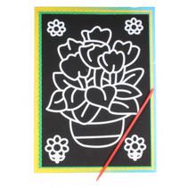 kraskaart vaas 9 x 13 cm papier zwart 2-delig