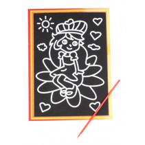 kraskaart leliemeisje 9 x 13 cm zwart 2-delig