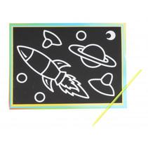 kraskaart ruimte junior 9 x 13 cm zwart 2-delig