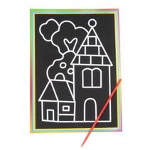 kraskaart dorp 9 x 13 cm papier zwart 2-delig