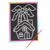kraskaart huisje junior 9 x 13 cm zwart 2-delig