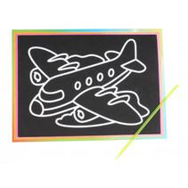 kraskaart vliegtuig junior 9 x 13 cm zwart 2-delig