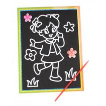 kraskaart bloemmeisje 9 x 13 cm zwart 2-delig