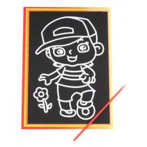 kraskaart jongen junior 9 x 13 cm zwart 2-delig