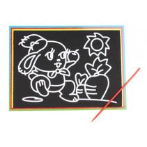 kraskaart konijn junior 9 x 13 cm zwart 2-delig