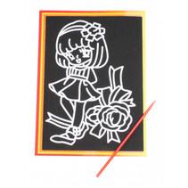kraskaart rozenmeisje 9 x 13 cm zwart 2-delig