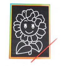 kraskaart zonnebloem 9 x 13 cm zwart 2-delig