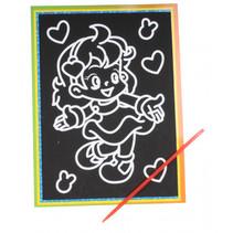 kraskaart hartjes 9 x 13 cm papier zwart 2-delig